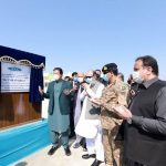 Prime Minister Imran Khan unveiling the plaque to start up gradation work at Turbat International Airport.