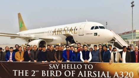 Air Sial management team welcomes 2nd aircraft at their base at Sialkot International Airport.