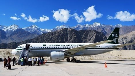 Pakistan International Airlines Airbus A320 in its retro livery registeration AP-BLA at Skardu Airport. Photo: Muhammad Saad
