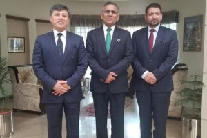 PIA Chief Executive Officer Air Marshal Arshad Malik with Ambassador of Uzbekistan to Pakistan Aibak Arif Usmanov and Ambassador of Pakistan to Uzbekistan Syed Ali Asad Gilani.